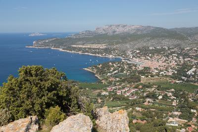 View of the Coastline and the Historic Town of Cassis from a Hilltop, France-Martin Child-Photographic Print