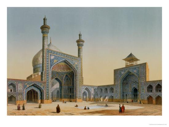 """View of the Courtyard of the Mesdjid-I-Shah, Isfahan, from """"Modern Monuments of Persia""""-Pascal Xavier Coste-Premium Giclee Print"""