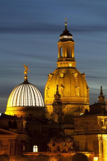 View of the Dome of the Frauenkirche at Night, Dresden, Saxony, Germany, Europe-Miles Ertman-Photographic Print