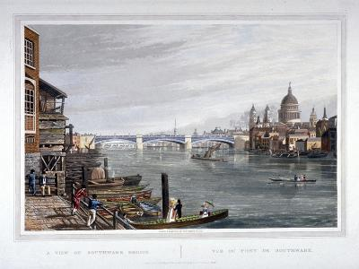 View of the East Side of Southwark Bridge, London, 1820-Robert Havell the Younger-Giclee Print