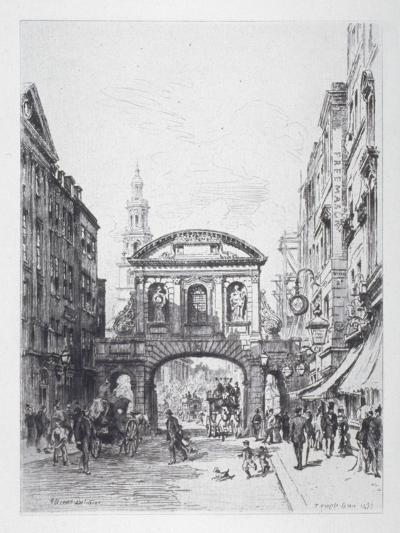 View of the East Side of Temple Bar, London, 1877-Alfred-Louis Brunet-Debaines-Giclee Print