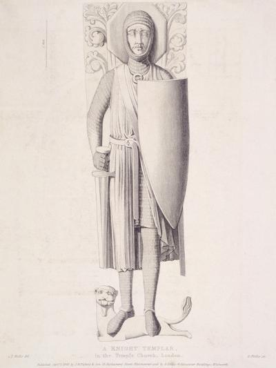 View of the Effigy of a Knight from Temple Church, London, 1840-George Hollis-Giclee Print
