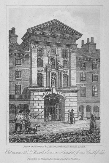 View of the Entrance of St Bartholomew's Hospital from Smithfield, City of London, 1816-Thomas Higham-Giclee Print