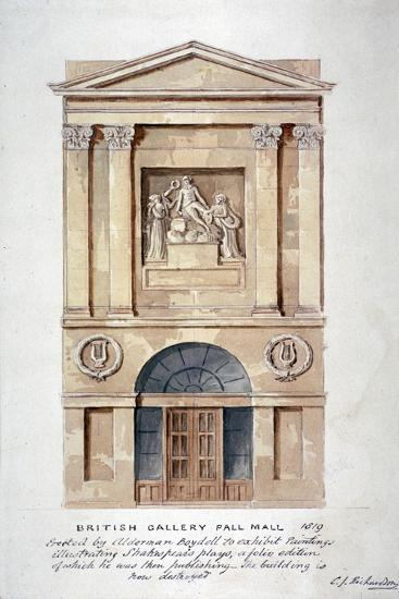 View of the Entrance to the British Institution, Pall Mall, Westminster, London, 1819-Charles James Richardson-Giclee Print