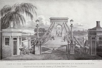 View of the Entrance to the Suspension Bridge at Hammersmith..., London, 1827-Thomas Mann Baynes-Giclee Print