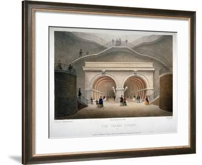 View of the Entrance to the Thames Tunnel, London, 1854-Jules Louis Arnout-Framed Giclee Print