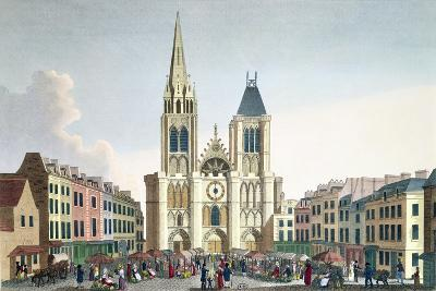 View of the Facade of the Church of Saint-Denis Near Paris, C.1820-Pierre Courvoisier-Giclee Print