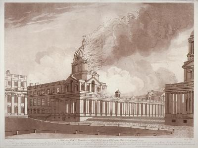 View of the Fire at Greenwich Hospital, London, on the Morning of 2nd January, 1779-E Edye-Giclee Print