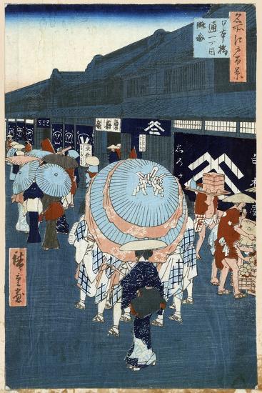 View of the First Street on Nihonbashidori (One Hundred Famous Views of Ed), 1856-1858-Utagawa Hiroshige-Giclee Print