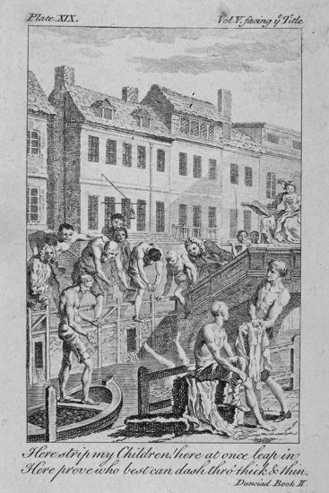 View of the Fleet Ditch with Bathers, City of London, 1750-Charles Grignion-Giclee Print