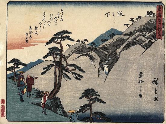 View of the Fudesute Mountain in Sakanoshita, 1837-1844-Utagawa Hiroshige-Giclee Print
