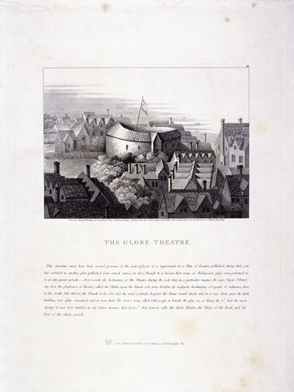 View of the Globe Theatre, Bankside, Southwark, London, 1810--Giclee Print