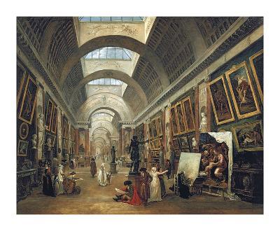 View of the Grand Gallery of the Louvre, 1796-Hubert Robert-Premium Giclee Print