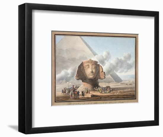 View of the head of the Sphinx and the Pyramid of Khafre, Giza, Egypt, c1790-Louis-Francois Cassas-Framed Giclee Print