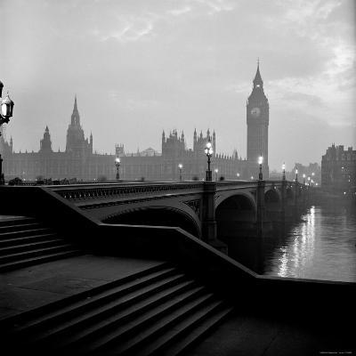 View of the Houses of Parliament as Seen Across Westminster Bridge at Dawn-Nat Farbman-Photographic Print