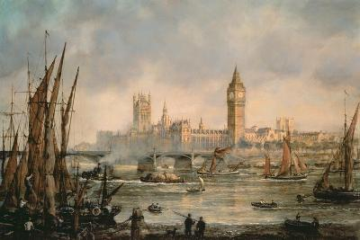 View of the Houses of Parliament from the River Thames-Richard Willis-Giclee Print