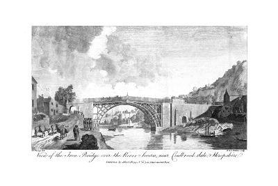 View of the Iron Bridge over the River Severn, Coalbrookdale, Shropshire, 19th Century- W & J Walker-Giclee Print