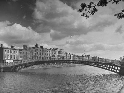 View of the Liffey River and the Metal Bridge in Dublin-Hans Wild-Photographic Print