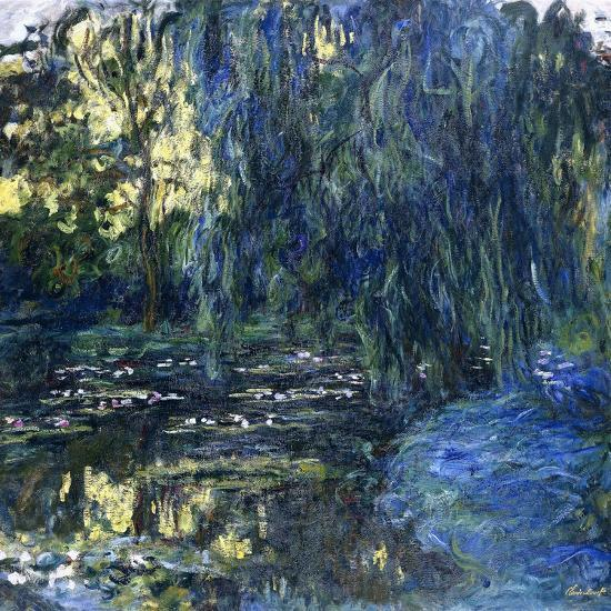 View of the Lilypond with Willow, C.1917-1919-Claude Monet-Giclee Print