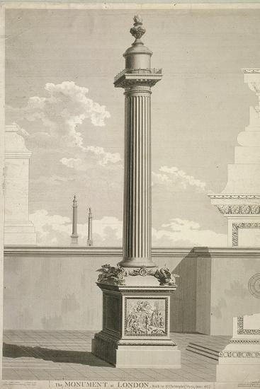 View of the Monument, City of London, 1791-William Lowry-Giclee Print