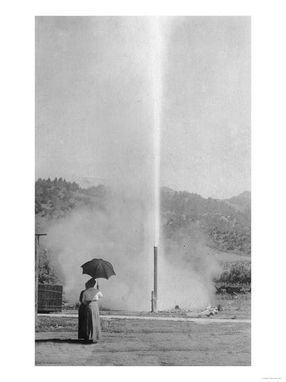 View of the Myrtledale Geyser - Calistoga, CA-Lantern Press-Art Print