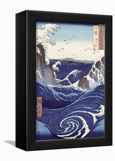 View of the Naruto Whirlpools at Awa, from the Series Rokuju-Yoshu Meisho Zue-Ando Hiroshige-Framed Stretched Canvas Print