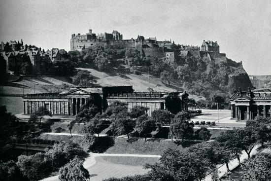 'View of the National Gallery of Scotland and Edinburgh Castle', c1945-Unknown-Photographic Print