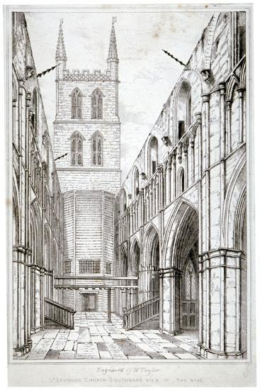 View of the Nave, St Saviour's Church, Southwark, London, C1834-W Taylor-Giclee Print