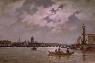 View of the Neva and the Admiralteyskaya Embankment by Moonlight, 1882-Aleksandr Karlovich Beggrov-Giclee Print