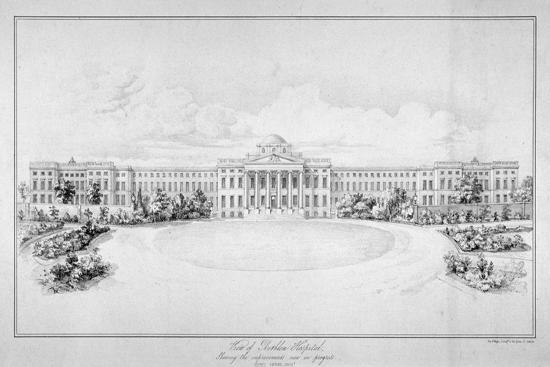 View of the New Bethlem Hospital, Southwark, London, C1825-Day & Haghe-Giclee Print