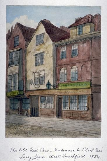 View of the Old Red Cow Inn in Long Lane, Smithfield, City of London, 1854--Giclee Print