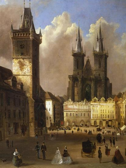 View of the Old Town of Prague with the Church of Our Lady before Tyn-Ferdinand Lepick-Giclee Print