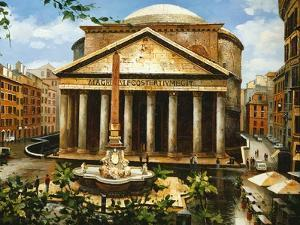 View of the Pantheon in Rome, Painting by W.Poliri, 20th Century, Italy