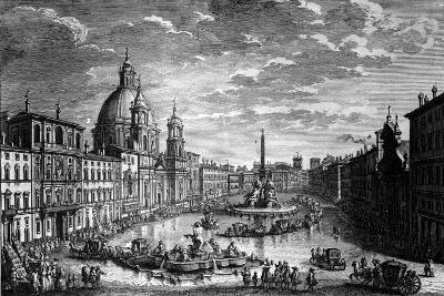 View of the Piazza Navona During the Ferragosto Holiday, 1752-Giuseppe Vasi-Giclee Print