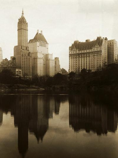 View of the Plaza Hotel, the Savoy Hotel and the Sherry-Netherland Hotel Reflected in the Water--Photographic Print