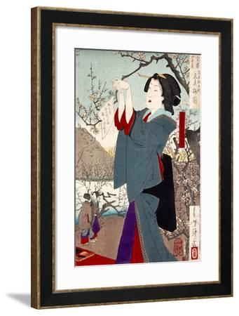 View of the Plums on the First Day of Spring-Yoshitoshi Tsukioka-Framed Giclee Print