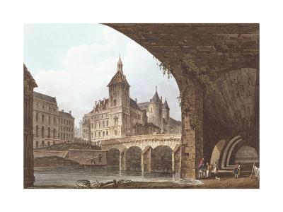 View of the Pont-Au-Change, the Tour De L'Horloge and the Conciergerie, C.1805-John Claude Nattes-Giclee Print