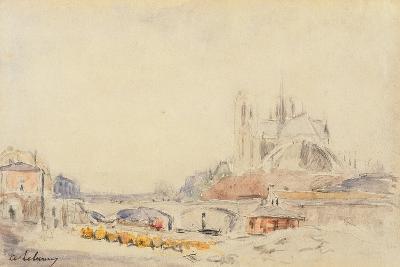 View of the Pont De La Tournelle and Notre-Dame De Paris-Albert-Charles Lebourg-Giclee Print