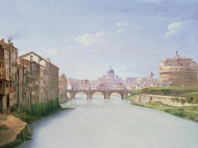 View of the Ponte and Castel Sant'Angelo in Rome-Christoffer-wilhelm Eckersberg-Giclee Print