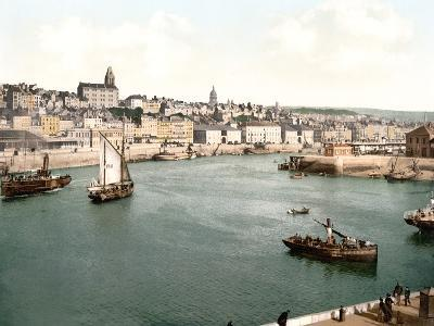 View of the Port of Boulogne Sur Mer with the Cathedral Dome in the Background, Pub. C.1895--Photographic Print