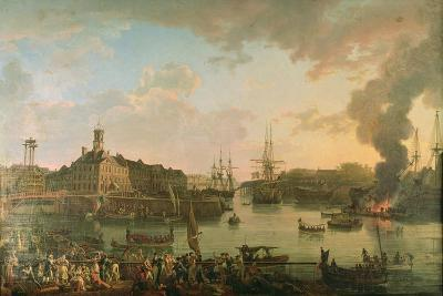 View of the Port of Brest from the Covered Docks in 1795, 1795-Jean-Francois Hue-Giclee Print