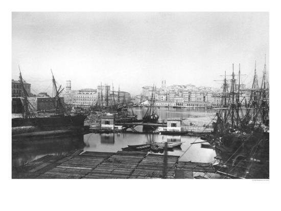 View of the Port of Marseilles, Late 19th Century--Giclee Print