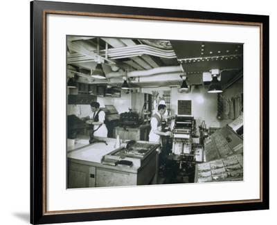 View of the Printing Press Aboard the Ivernia--Framed Photographic Print