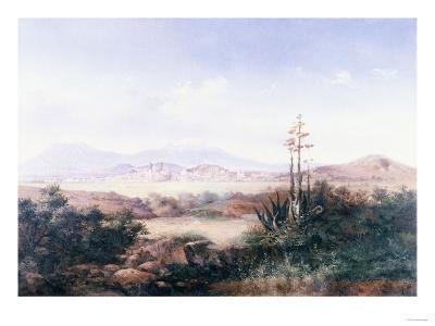 View of the Pueblo with Volcanoes-Emilio Boggio-Giclee Print