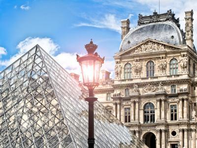 View of the Pyramid and the Louvre Museum Building, Paris, France, Europe-Philippe Hugonnard-Photographic Print