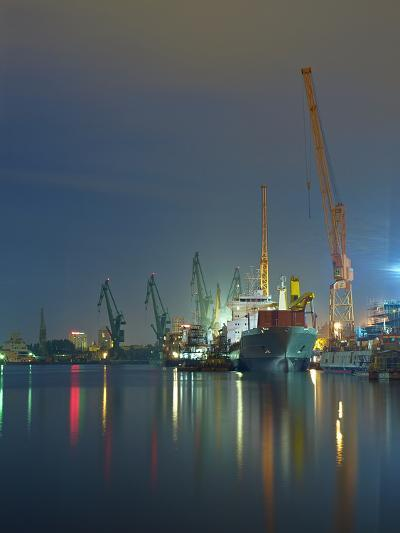 View of the Quay Shipyard of Gdansk, Poland.-Nightman1965-Photographic Print