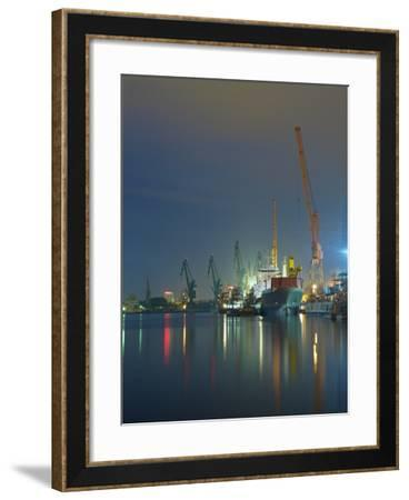 View of the Quay Shipyard of Gdansk, Poland.-Nightman1965-Framed Photographic Print