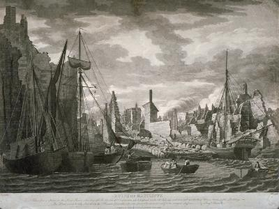 View of the Ratcliffe Area, London, Showing the Ruins after the Fire of 23 July, 1794-Benjamin Burnell-Giclee Print