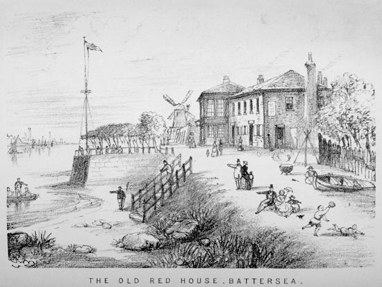 View of the Red House Inn on the Banks of the River Thames, Battersea, London, 1850--Giclee Print