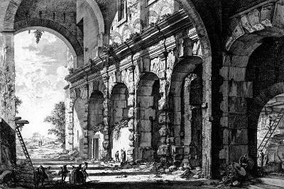 View of the Remains of the Temple of Claudius Near the Church of Santi Giovanni E Paolo, from the…-Giovanni Battista Piranesi-Giclee Print